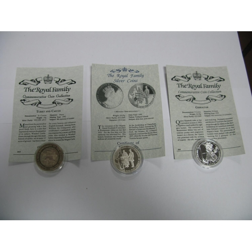 448 - Three Silver Proof Commemorative Crown Sized Coins, Westminster The Royal Family Editions, to includ...