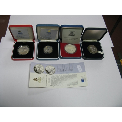 452 - Four Silver Proof Commemorative Coins, Medallions, including United Kingdom five pounds 1997, Barbad...