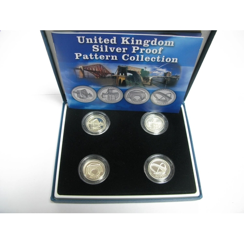454 - A Royal Mint United Kingdom Silver Proof Pattern Collection, comprising of One Pound coins (Pattern)...