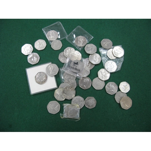 456 - Thirty Plus G.B Fifty Pence Coins, including several 1973 Ring of Hands EEC fifty pence coins....