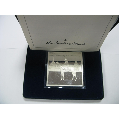 466 - A Danbury Mint HM The Queens Official Birthday Silver Ingot, certified No 2518, accompanied by liter...