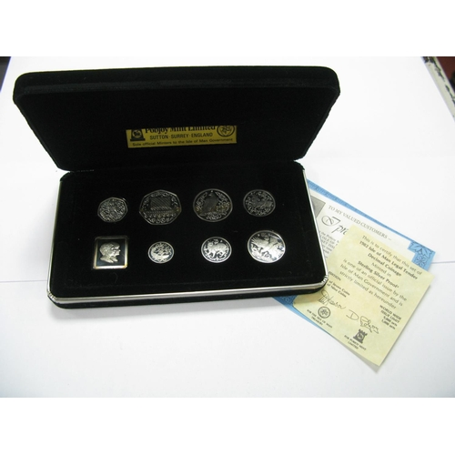 475 - A Pobjoy Mint Isle of Man Silver Proof Coin Set 1982, (seven coins) accompanied by literature, cased...