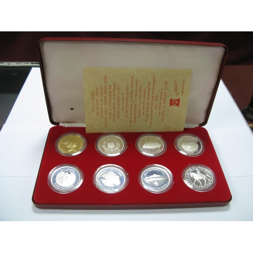 480 - A Pobjoy Mint The Queens Silver Jubilee 1977 Sterling Silver Proof Eight Coin Set, including Gibralt...