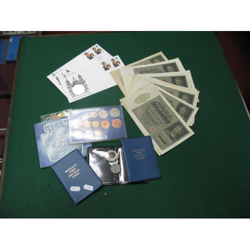 495 - A Collection of Coins and Banknotes to include the Royal Mint United Kingdom BU coin collection 1983...