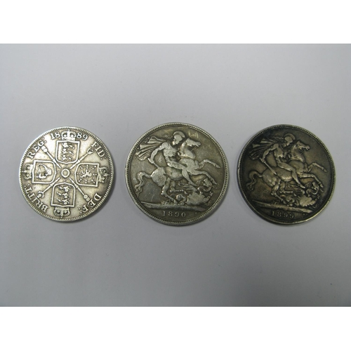 500 - Queen Victoria Silver Crowns, 1890, 1899, silver double florin 1889, all from circulation....