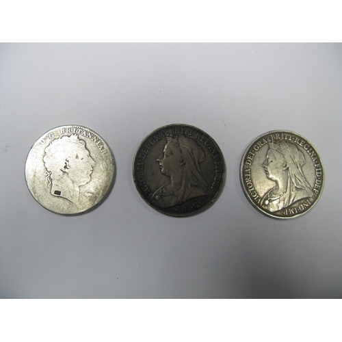 502 - Three Great Britain Silver Crowns, including George III (poor), Queen Victoria 1895, 1898, all from ...