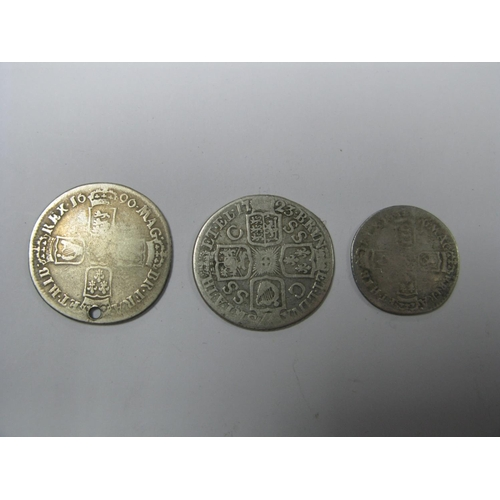 505 - William III Sixpence 16?? (Date Rubbed), George I shilling 1723 SSC in Angles, William III shilling ...