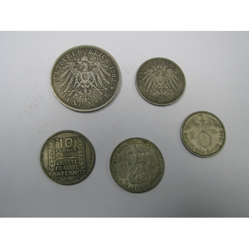 510 - A Collection of Five Coins, to include Deutsches Reich Funf Mark 1902, Reichs Mark 1938, Zwei Mark 1...