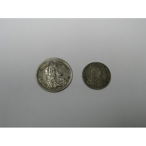 515 - Charles II Threepence 1673 (1.4g), George III two pence 1795 (1.0g)...