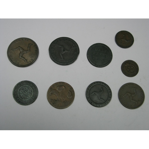 521 - Nine Copper Coins/Tokens, mostly Eire, including Queen Victoria One Penny 1839, Halfpenny Token 1831...