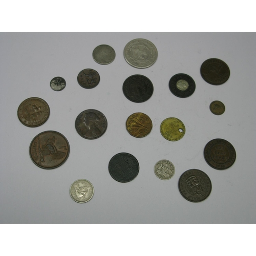 522 - A Small Collection of Coins, to include Queen Victoria One Penny Model, South Africa Two Shillings 1...