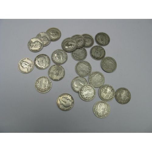 528 - Three Pounds (Total Face Value) of Pre-1947 Silver Halfcrowns, pre 1920 dates noted including 1910, ...