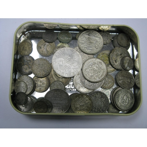 531 - An Assortment of Overseas Mainly Silver Content Coins, to include one Rupee India 1891, Austria 100 ...