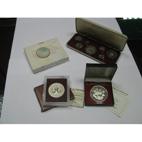 558 - Tonga Proof Set 1967 (Seven Coins), 1976 Turks and Caicos Islands silver proof twenty crown coin, Co...