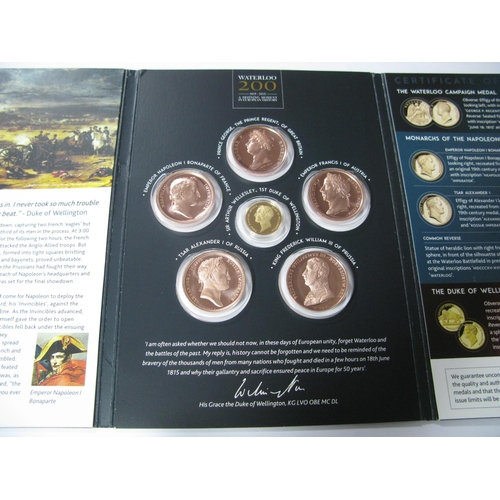 566 - The London Mint Office, The Battle of Waterloo 1815-2015 Commemorative Medallion Collection, compris...