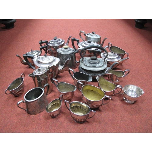 14 - A Collection of Assorted Plated Tea Sets, including EPBM, predominantly of semi reeded form :- One B...