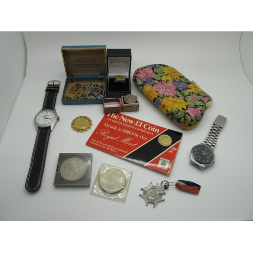 20 - Two Gent's Wristwatches, 1983 'The New £1 Coin', proof, further coins, imitation coin set ring, 1953...
