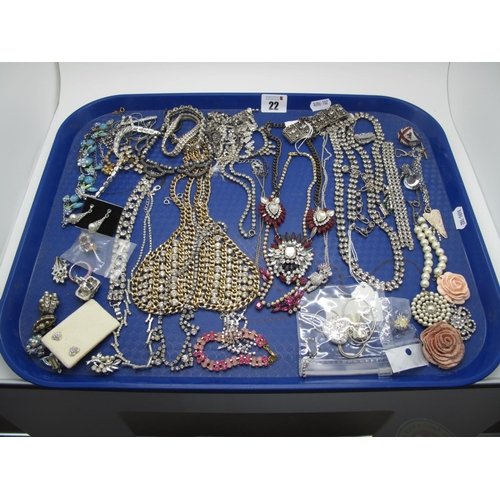 22 - A Selection of Diamante Style Costume Jewellery, including earrings, fancy necklaces, bracelets, rin...