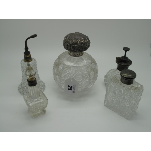 25 - A Large Hallmarked Silver Topped Globular Glass Scent Bottle, Chester 1885, with screw off cover (la...
