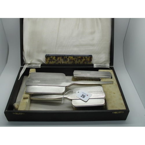 26 - A Matched Hallmarked Silver Three Piece Dressing Table Set, Walker & Hall, Sheffield 1939, Chester 1...