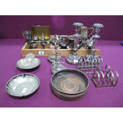 3 - A Pair of XIX Century Plated on Copper Candlesticks, together with further assorted plated ware incl...