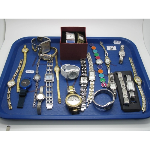 31 - A Small Selection of Modern Ladies Wristwatches, including Solo, Ingersoll, a panel style Swatch, Li...