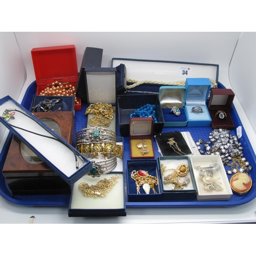 34 - Assorted Costume Jewellery, including two hinged bangles stamped