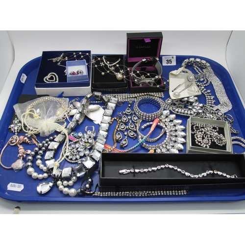 35 - A Selection of Diamante Style Costume Jewellery, including drop earrings, fancy panel style bracelet...
