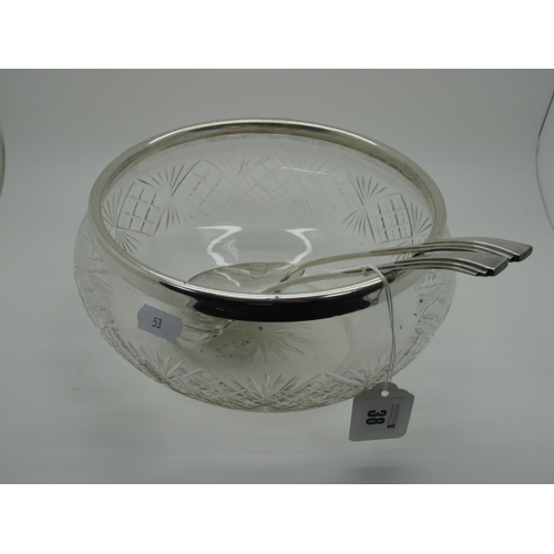 38 - A Chester Hallmarked Silver Rimmed Cut Glass Bowl, together a pair of Art Deco electroplated servers...