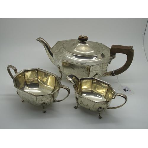 40 - A Hallmarked Silver Three Piece Tea Set, EV, Sheffield 1939, each of plain elongated octagonal form,...