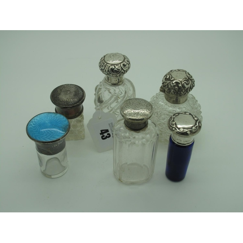43 - Assorted Hallmarked Silver Topped Glass Bottles, (various makers/dates), including turquoise enamel,...