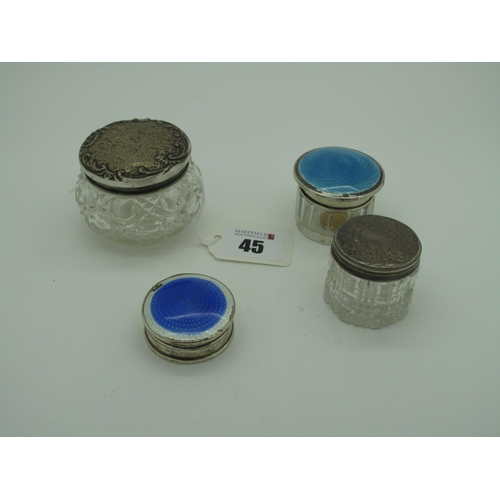 45 - A Small Hallmarked Silver and Enamel Lidded Pot, CEW&S, Birmingham 1927, the pull off over highlight...