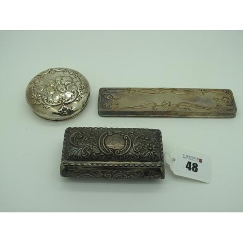 48 - A Hallmarked Silver Trinket Box, Deakin & Francis, Birmingham 1900, of rectangular form, allover det...