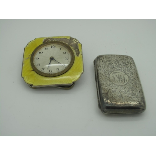 49 - A Hallmarked Silver and Yellow Enamel Bedside Clock, the circular dial (marked
