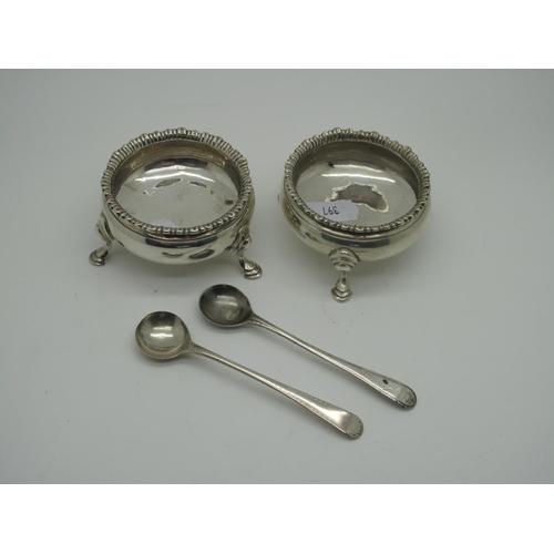 55 - A Pair of Georgian Hallmarked Silver Salts, SA, London 1773, each of plain circular form raised on t...