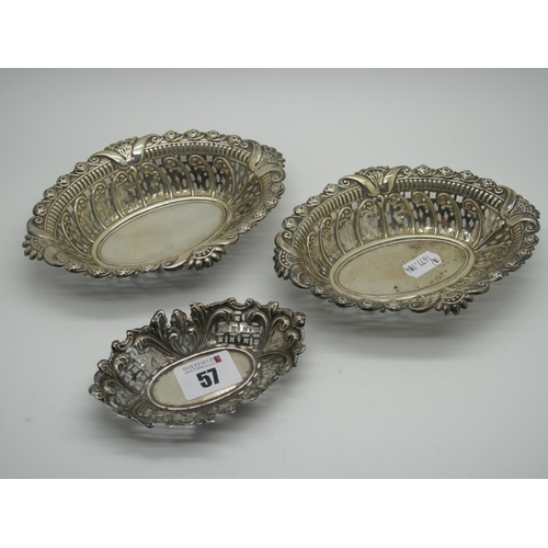 57 - A Decorative Pair of Hallmarked Silver Bonbon Dishes, Charles Boyton, London 1895, each of oval pier...