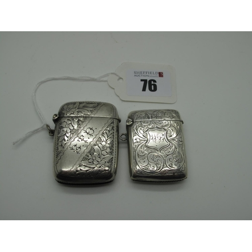 76 - A Hallmarked Silver Vesta Case, JS&Co, Birmingham 1902, allover foliate engraved and initialled