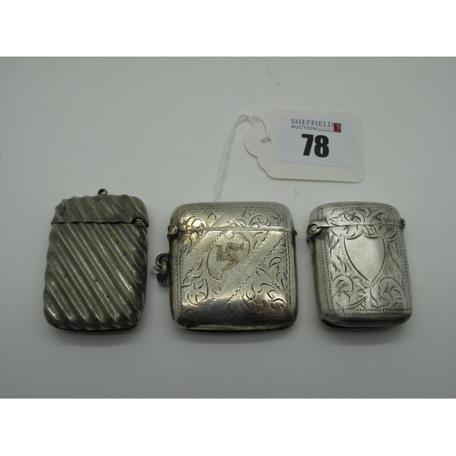 78 - Three Plated Vesta Cases, one engraved with the Isle of Man triskelion, with suspension loop. (3)...