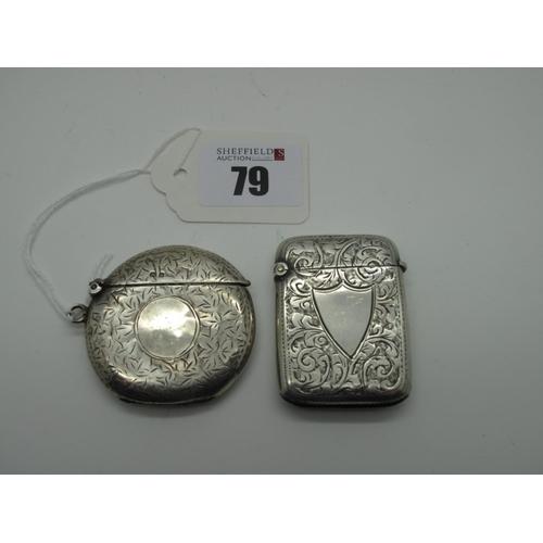 79 - A Hallmarked Silver Circular Vesta Case, Birmingham 1907, allover leaf engraved, with suspension loo...