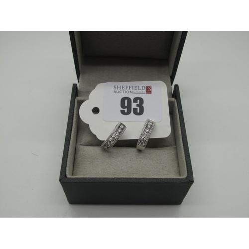 93 - Avanti (Ashbourne, Derbyshire); A Pair of Modern 18ct White Gold Diamond Set Earrings, of hinged hoo...