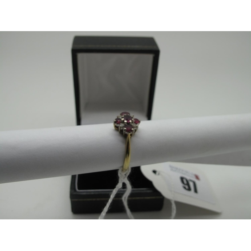 97 - An 18ct Gold Cluster Dress Ring, claw set throughout, (finger size N) (3g)....