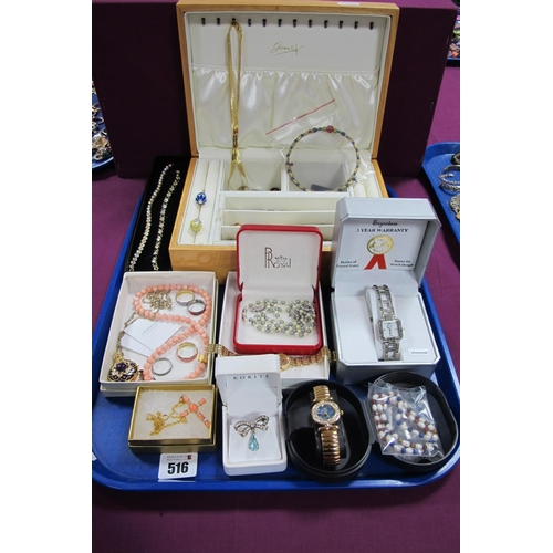 516 - Assorted Modern Costume Jewellery, including ladies wristwatches, beads, dress rings, bow brooch, cr...