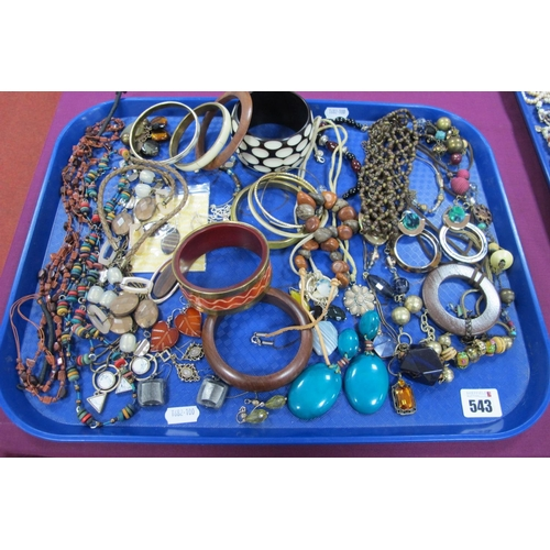 543 - A Selection of Modern Ethnic Style Costume Jewellery, including bangles, bead necklaces, ornate drop...