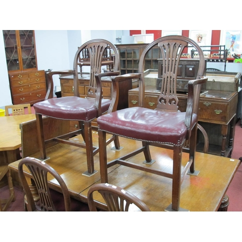 807 - A Set of Six XVIII Century Style Mahogany Dining Chairs, with pierced splats, studded maroon leather...