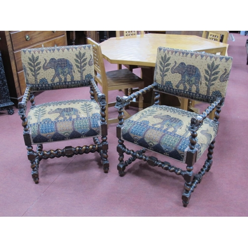 810 - A Pair of XVII Century Style Armchairs, with upholstered back panels and seats, barley twist arms wi...