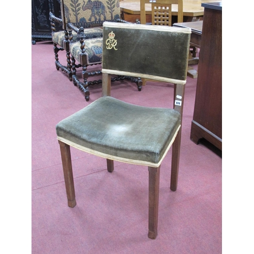 820 - An Oak George VI Coronation Service Chair, for Westminster Abbey, with 'GR VI' cypher embroidered on...