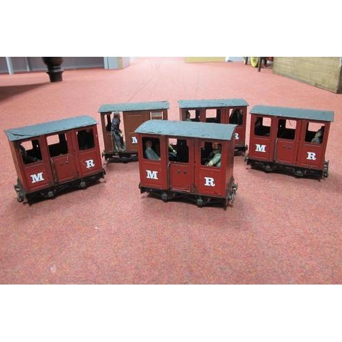 13 - Five Mamod Live Steam Railway Four Wheel Coaches, playworn, damaged, unassociated passengers.
