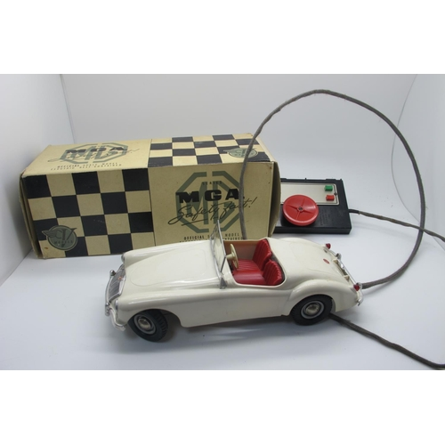 27 - A Victory Industries Remote Control MGA, finished in white, appears complete but windscreen damaged,...