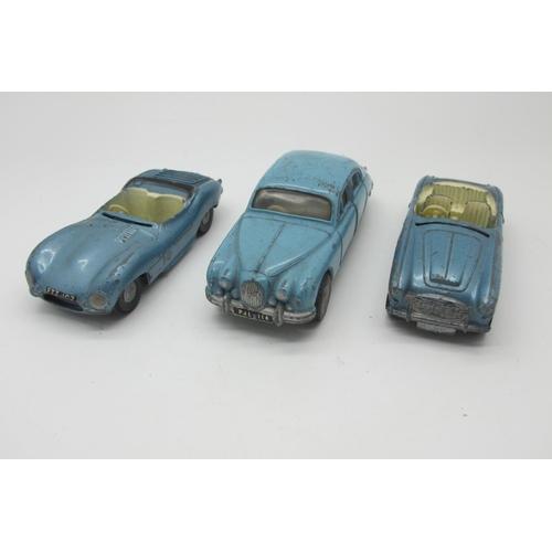31 - Three Original 1960's Diecast Cars, by Spot-On-Austin Healey, Jaguar 3.4, Jaguar XKSS, all playworn.