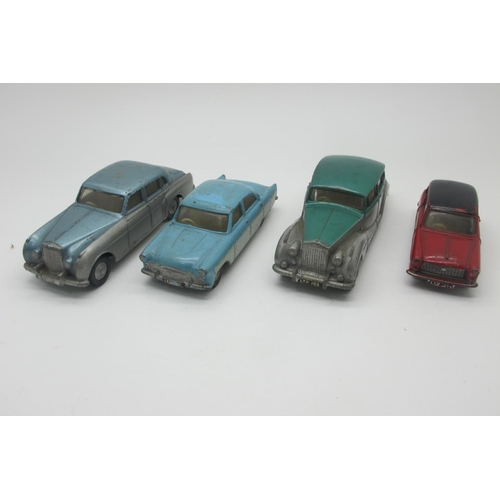 32 - Four Original 1960's Diecast Cars, by Spot-On-Austin A40, Rolls Royce Silver Wraith, Ford Zodiac, Be...